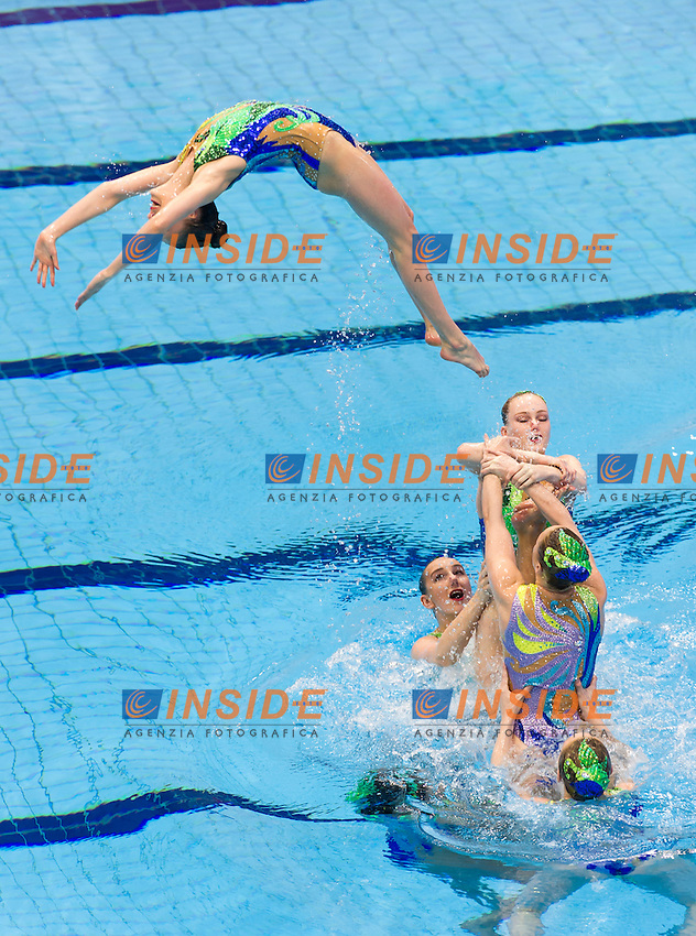Team RUS<br /> London, Queen Elizabeth II Olympic Park Pool <br /> LEN 2016 European Aquatics Elite Championships <br /> Synchro<br /> Team technical final <br /> Day 01 09-05-2016<br /> Photo Giorgio Perottino/Deepbluemedia/Insidefoto