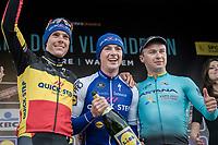 finish podium:<br /> 1/ Yves Lampaert (BEL/QuickStep Floors)<br /> 2/ Philippe Gilbert (BEL/Quick Step floors) 3/ Alexey Lutsenko (KAZ/Astana)<br /> <br /> 72nd Dwars Door Vlaanderen (1.UWT)<br /> 1day race: Roeselare &rsaquo; Waregem BEL (203.4km)