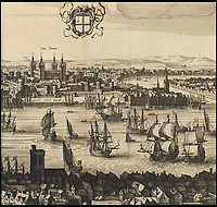 BNPS.co.uk (01202 558833)<br /> Pic: Christies/BNPS<br /> <br /> Fascinating depiction of the Tower of London, with many merchant ships on the Thames.<br /> <br /> A remarkable 393 year old panorama of London which reveals how the city looked before the great fire destroyed large parts of it has sold at auction for &pound;106,000.<br /> <br /> The 7ft panorama, taken from the South Bank, has the old St Paul's Cathedral and London Bridge, which were rebuilt following the blaze, as central features.<br /> <br /> Remarkably, its creator, the Dutch engraver and cartographer Claes Jansz Visscher, never visited London, so the panorama required some imagination - the Tower of London boasts onion-styled domes.<br /> <br /> It is one of only two known copies to exist, with the other one residing in the Folger Library in Washington DC, United States.