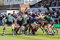 Match action during the Greene King IPA Championship match between London Scottish Football Club and Nottingham Rugby at Richmond Athletic Ground, Richmond, United Kingdom on 15 April 2017. Photo by David Horn.