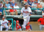 6 March 2012: Atlanta Braves outfielder Luis Durango in action during a Spring Training game against the Washington Nationals at Champion Park in Disney's Wide World of Sports Complex, Orlando, Florida. The Nationals defeated the Braves 5-2 in Grapefruit League action. Mandatory Credit: Ed Wolfstein Photo