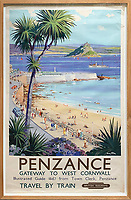 BNPS.co.uk (01202 558833)<br /> Pic: DavidLayFRICS/BNPS<br /> <br /> A British Railways poster promoting Penzance<br /> <br />  A wonderful collection of vintage British travel posters celebrating the golden age of the seaside getaway have emerged for sale for £15,000.<br /> <br /> The posters were produced by Great Western Railway and British Railways between the 1930s to the 1960s to encourage Brits to holiday on the Cornish coast.<br /> <br /> One striking Art Deco poster issued by Great Western Railway shows a lady in an orange swimsuit at Newquay with surfers in the background. <br /> <br /> It describes the popular holiday destination as 'Cornwall's first Atlantic resort'.<br /> <br /> The collection of about 30 posters has been put together by a private collector over the past two decades who is now selling them with auction house David Lay FRICS, of Penzance, Cornwall.