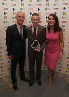 03/06/2014  <br /> Adam Horgan who recieved the Outstanding Bravery	award from  Ray D&rsquo;Arcy &amp; Mairead Farrell<br /> during the Pride of Ireland awards at the Mansion House, Dublin.<br /> Photo: Gareth Chaney Collins