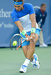 Rafael Nadal (ESP) takes the first set against Feliciano Lopez (ESP), winning 7-5 at the Western and Southern Open in Mason, OH on August 20, 2015.