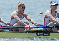 Brandenburg. GERMANY.<br /> GBR W4X, left, Holly NIXON and Rosamund BRADBURY, at the start of their heat at the 2016 European Rowing Championships at the Regattastrecke Beetzsee<br /> <br /> Friday  06/05/2016<br /> <br /> [Mandatory Credit; Peter SPURRIER/Intersport-images]