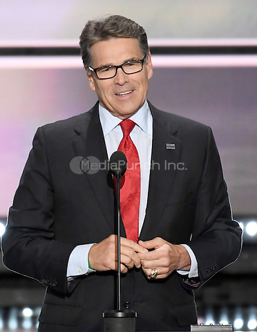 Former Governor Rick Perry (Republican of Texas) makes remarks at the 2016 Republican National Convention held at the Quicken Loans Arena in Cleveland, Ohio on Monday, July 18, 2016.<br /> Credit: Ron Sachs / CNP/MediaPunch<br /> (RESTRICTION: NO New York or New Jersey Newspapers or newspapers within a 75 mile radius of New York City)
