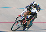September 17, 2015 - Colorado Springs, Colorado, U.S. - Midwestern State's, Joshua Buchel (l), and Marian University's, Kaleb Koch (r), at full speed during a qualifying round during the USA Cycling Collegiate Track National Championships, United States Olympic Training Center Velodrome, Colorado Springs, Colorado.