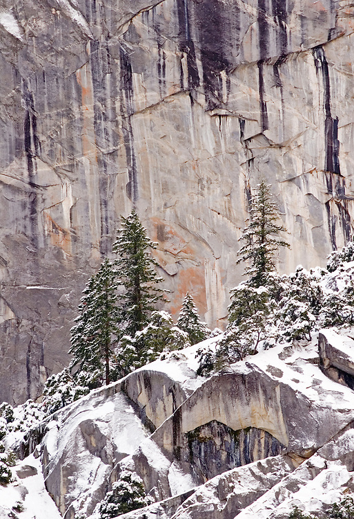 """The dramatic winter cliffs above Yosemite Valley form the """"frosting on the cake""""  for visitors enjoying Yosemite valley in the winter."""