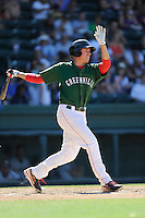 Center fielder Bryan Hudson (18) of the Greenville Drive bats in a game against the Charleston RiverDogs on Sunday, June 28, 2015, at Fluor Field at the West End in Greenville, South Carolina. Charleston won, 12-9. (Tom Priddy/Four Seam Images)