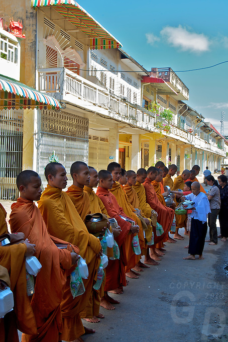 Buddhist Monks in the morning in Battambang Cambodia