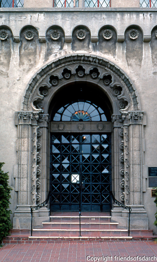 "Julia Morgan: Berkeley (Women's) City Club. 1929. Entrance--""Moorish-Gothic""."