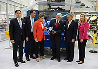In this photo released by the National Aeronautics and Space Administration (NASA) United States Vice President Mike Pence receives a model of Orion from Acting NASA Administrator Robert Lightfoot, second from left, and NASA Kennedy Space Center (KSC) Director Robert D. Cabana, second from right, Thursday, July 6, 2017, while touring KSC's Operations and Checkout Building in Cape Canaveral, Florida. Also pictured are Sen. Marco Rubio (Republican of Florida), Marillyn Hewson, chairman, president and CEO of Lockheed Martin, third from left, and Janet Petro, KSC's deputy director, right. Photo Credit: Aubrey Gemignani/NASA/CNP/AdMedia