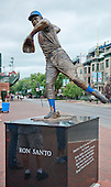 Statue honoring Chicago Cubs' great Ron Santo, amember of the Baseball Hall of Fame, at the corner of Addison Street and Sheffield Avenue, outside Wrigley Field in Chicago, Illinois on Thursday, August 22, 2013.<br /> Credit: Ron Sachs / CNP