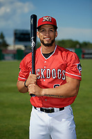 Batavia Muckdogs Igor Baez (6) poses for a photo before a NY-Penn League game against the West Virginia Black Bears on June 26, 2019 at Dwyer Stadium in Batavia, New York.  Batavia defeated West Virginia 4-2.  (Mike Janes/Four Seam Images)