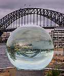 The Large Crystal Ball sculpture on display during the Barangaroo Sculpture event in Sydney, NSW, Australia