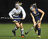 Lauren Ahrens #5 of Massapequa, left, and Daniella Specht #14 of Baldwin battle for possession during the Nassau County varsity field hockey Class A final at Adelphi University on Saturday, Oct. 28, 2017. Ahrens scored a goal with 4:40 remaining in the second half to break a scoreless tie and lift Massapequa to a 1-0 win.