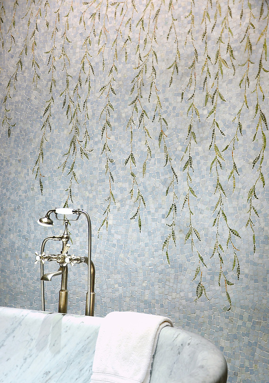 Willow, a hand-cut stone mosaic, shown in polished Celeste, Verde Luna, Travertine Noce, Topax Onyx, Chartreuse.
