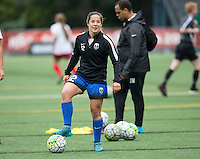 Seattle, Washington - Saturday May 14, 2016:  Seattle Reign FC defender Paige Nielsen (12) during warmups at Memorial Stadium on Saturday May 14, 2016 in Seattle, Washington. The match ended in a 1-1 draw