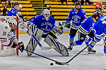 29 December 2018: University of Alabama Huntsville Charger Goaltender Jake Theut, a Senior from Washington, MI, in second period action against the Northeastern University Huskies at Gutterson Fieldhouse in Burlington, Vermont. The Huskies shut out the Chargers 2-0 in the Catamount Cup tournament at the University of Vermont. Mandatory Credit: Ed Wolfstein Photo *** RAW (NEF) Image File Available ***