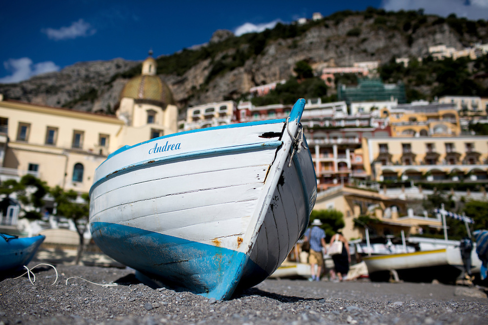 A boat sits on the beach on Sunday, Sept. 20, 2015, in Positano, Italy. (Photo by James Brosher)