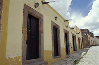 Restored 19th-centuryhouses in the 19th-century silver-mining town of Real de Catorce, San Luis Potosi state, Mexico. Real de Catorce became a virtual ghost town during the early part of the 20th century. It has recently become a popuar destination for travellers.
