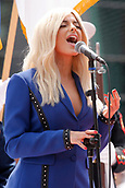 May 28th Indianapolis Speedway, Indiana, USA;  Bebe Rexha performs the National Anthem during the 101st running of the Indianapolis 500 on May 28, 2017, at the Indianapolis Motor Speedway in Indianapolis, Indiana.