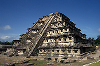 The Pyramid of the Niches at the Totonac ruins of El Tajin, Veracruz, Mexico. El Tajin is a UNESCO World Heritage site.