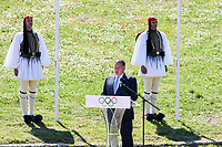 12th March 2020, Olympia, Greece;  Hellenic Olympic Committee President SpyrKapralgives a speech during the flame lighting ceremony for Tokyo 2020 Olympic Games