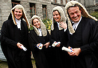 "Smiles after the ""Taking the Silk"" ceremony from the Chief Justice in the Supreme Court. The black gown of a junior barrister is replaced with a black silk gown, and barristers are promoted to senior level. They often work for 15 years to reach the title. The tradition of court dress and wearing wigs by barristers and judges has survived despite the complaints of younger members of the profession."