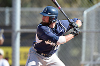 Georgetown Hoyas first baseman Steve Anderson (19) at bat during a game against the South Dakota State JackRabbitsat South County Regional Park on March 9, 2014 in Port Charlotte, Florida.  Georgetown defeated South Dakota 7-4.  (Mike Janes/Four Seam Images)
