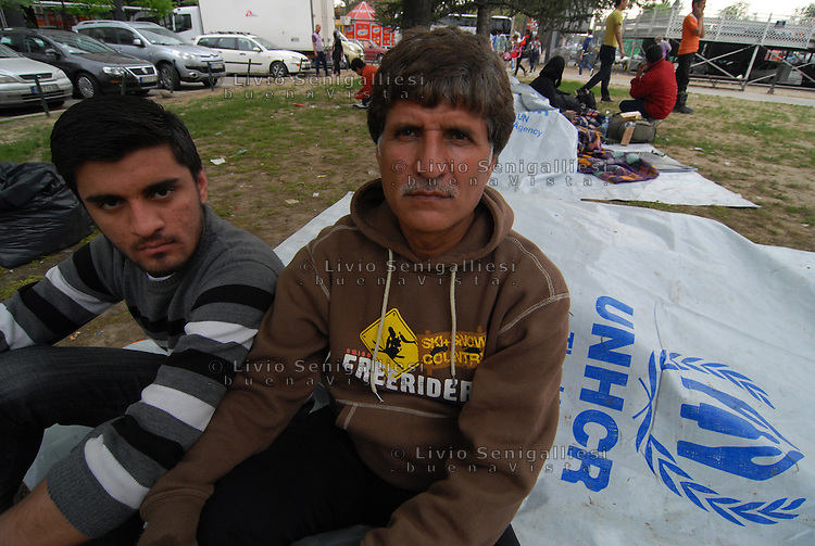 Belgrade / Serbia  130416<br /> Ali Mohamed, 52, from Pakistan reached Belgrade through the Balkan Route and now lives with his wife and 10 children in a park near the railway station. Food and water are distributed by volunteers and health care is organized by MSF.<br /> Photo Livio Senigalliesi