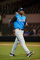 Tampa Tarpons manager Aaron Holbert (13) during a Florida State League game against the Lakeland Flying Tigers on April 5, 2019 at Publix Field at Joker Marchant Stadium in Lakeland, Florida.  Lakeland defeated Tampa 5-3.  (Mike Janes/Four Seam Images)