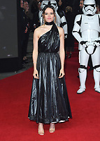 "Daisy Ridley<br /> arriving for the ""Star Wars: The Last Jedi"" film premiere at the Royal Albert Hall, London.<br /> <br /> <br /> ©Ash Knotek  D3363  12/12/2017"