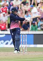 England's Joe Root batting. New Zealand Blackcaps v England. One Day International Cricket. Seddon Park, Hamilton, New Zealand on Sunday 25 February 2018.<br /> <br /> Copyright photo: &copy; Bruce Lim / www.photosport.nz