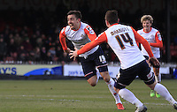 Olly Lee of Luton Town celebrates his winning goal during the Sky Bet League 2 match between York City and Luton Town at Bootham Crescent, York, England on 27 February 2016. Photo by Liam Smith.