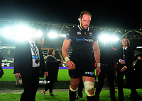 Ospreys' Alun Wyn Jones looks dejected as he walks down the tunnel <br /> <br /> Photographer Ashley Crowden/CameraSport<br /> <br /> Guinness Pro14 Round 6 - Ospreys v Scarlets - Saturday 7th October 2017 - Liberty Stadium - Swansea<br /> <br /> World Copyright &copy; 2017 CameraSport. All rights reserved. 43 Linden Ave. Countesthorpe. Leicester. England. LE8 5PG - Tel: +44 (0) 116 277 4147 - admin@camerasport.com - www.camerasport.com
