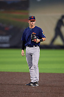 Connecticut Tigers second baseman Corey Joyce (8) during a NY-Penn League game against the Auburn Doubledays on July 12, 2019 at Falcon Park in Auburn, New York.  Auburn defeated Connecticut 7-5.  (Mike Janes/Four Seam Images)