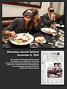 Tia Lancaster, Teri Newport and her husband Dean Newport try to figure out the identity of their food during the Dining in the Dark fundraising event at the Bacchus restaurant in Milwaukee on Sunday, Nov. 8, 2009. The event was a benefit for  the Badger Association and Center for Blind and Visually Impaired Children. Ernie Mastroianni photo.