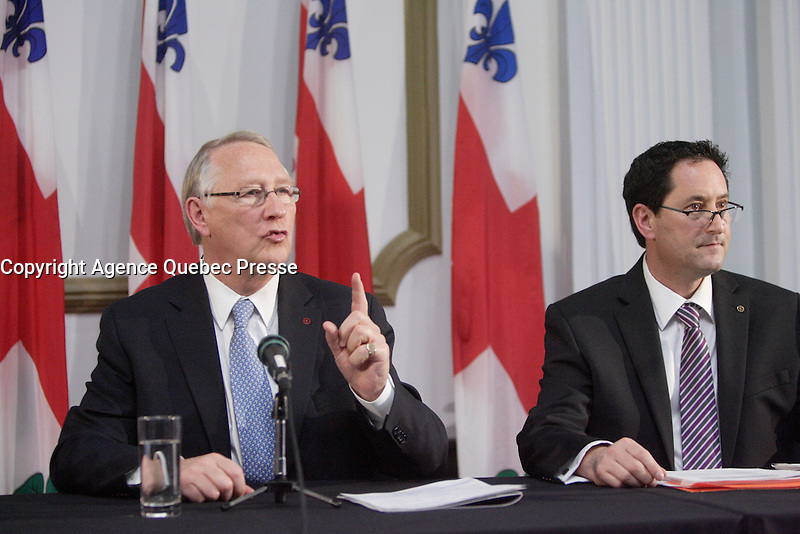 Montreal (Qc) CANADA - November 30 201 File Photo - Montreal city Budget -<br /> Gerald Tremblay, Mayor (L), Michael Applebaum (R) - Michael Applebaum is one of the possible replacement of Mayor Gerald Tremblay who resigned November 5, 2012.