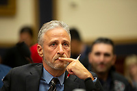 Jon Stewart gets emotional at a hearing on the 9-11 Victims fund before the Judiciary subcommittee on Capitol Hill in Washington D.C. on June 11, 2019.<br /> <br /> Credit: Stefani Reynolds / CNP/AdMedia