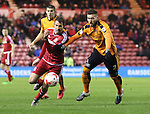 Christhian Stuani of Middlesbrough tussles Matt Doherty of Wolverhampton Wanders - Sky Bet Championship - Middlesbrough vs Wolverhampton Wanderers - Riverside Stadium - Middlesbrough - England - 4th of March 2016 - Picture Jamie Tyerman/Sportimage<br /> --------------------<br /> Sport Image<br /> 15/16 Middlesbrough v Wolves<br /> <br /> 04 March 2016<br /> &copy;2016 Sport Image all rights reserved