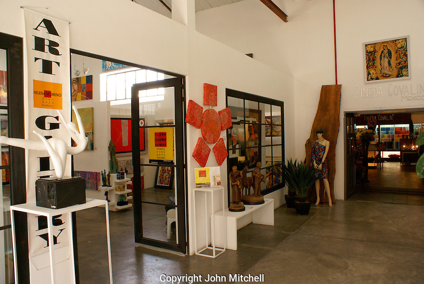 Art gallery in  Fabrica La Aurora Art and Design Center, San Miguel de Allende, Mexico. San Miguel de Allende is a UNESCO World Heritage Site....