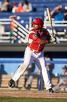 Batavia Muckdogs outfielder Travis Brewster (46) at bat during a game against the Mahoning Valley Scrappers on June 23, 2015 at Dwyer Stadium in Batavia, New York.  Mahoning Valley defeated Batavia 11-2.  (Mike Janes/Four Seam Images)