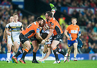 Picture by Allan McKenzie/SWpix.com - 07/10/2017 - Rugby League - Betfred Super League Grand Final - Castleford Tigers v Leeds Rhinos - Old Trafford, Manchester, England - Castleford's Matt Cook & Grant Millington upend Leeds's Anthony Mullally.