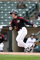 Rochester Red Wings shortstop Doug Bernier (17) at bat during a game against the Louisville Bats on May 4, 2014 at Frontier Field in Rochester, New  York.  Rochester defeated Louisville 12-6.  (Mike Janes/Four Seam Images)