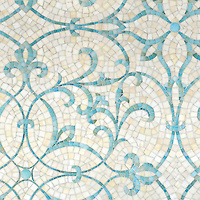 Marabel, a hand-cut jewel glass mosaic shown, in Aquamarine and Quartz jewel glass, is part of the Silk Road Collection by Sara Baldwin for New Ravenna.