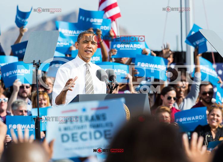 LAS VEGAS, NV - November 1: President Barack Obama pictured at Eva Longoria & Barack Obama Grassroots Rally on November 1, 2012 in Las Vegas, Nevada.  Photo by: Kabik/Starlitepics/MediaPunch Inc. /NortePhoto