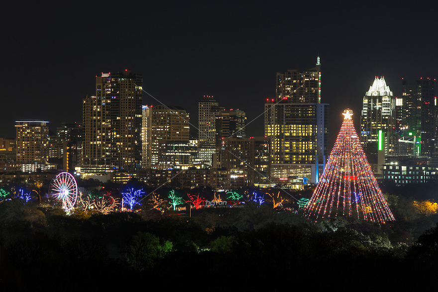 Austin gets in holiday spirit as the Zilker Tree and the Trail of Lights shine bright against the Austin Skyline.