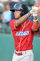 Infielder Edgar Duran (19) of the Lakewood BlueClaws, Class A affiliate of the Philadelphia Phillies, in a game against the Greenville Drive on July 12, 2011, at Fluor Field at the West End in Greenville, South Carolina. (Tom Priddy/Four Seam Images)
