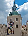 Szczecin, (woj. zachodniopomorskie), 15.07.2013. Zamek Książąt Pomorskich –zegar wieżowy.